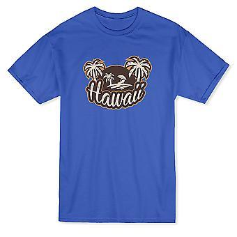 手のひらでハワイの熱帯のビーチの木中フロント グラフィック メンズ t シャツ