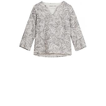 Sandwich Clothing Grey Leaf Patterned Blouse