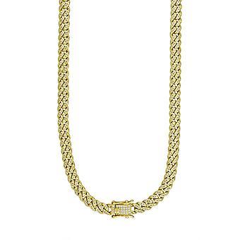 925 Sterling Silver Yellow Tone Mens CZ Cubic Zirconia Simulované Diamond Miami Obrubník řetězce 6,5 mm 18 palců šperky dárky pro