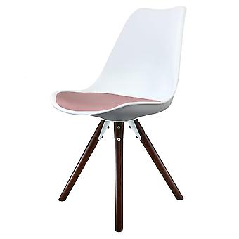 Fusion Living Eiffel inspiré blanc et blush Pink Dining Chair with Pyramid Dark Wood Legs