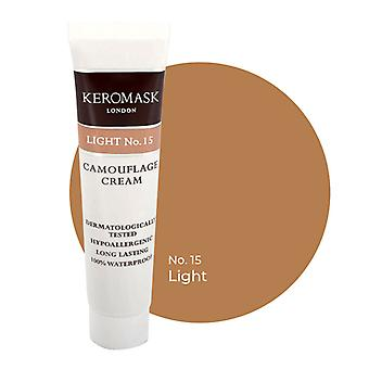 Keromask Full Cover Concealer | 24 Shades | Covers Vitiligo, Rosacea, Scars, Tattoos | Waterproof Camouflage Makeup | Light No 15 | 15ml