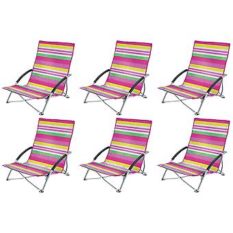 6 Yello Low Folding Beach Chairs For Camping, Fishing Or Beach - Pink Striped