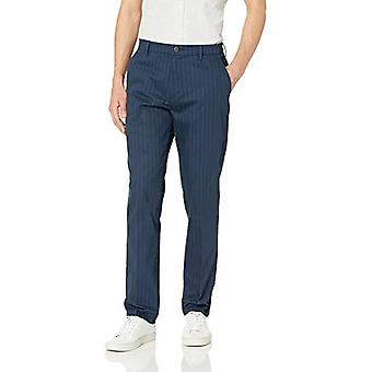 Goodthreads Men's Athletic-Fit Wrinkle Free Dress Chino Pant, Navy Pinstripe, 42W x 32L
