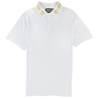 Versace Jeans Couture Cotton Polo Barokowy kołnierz biały