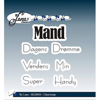 بواسطة Lene Clear Stamps النص الدنماركي - Mand