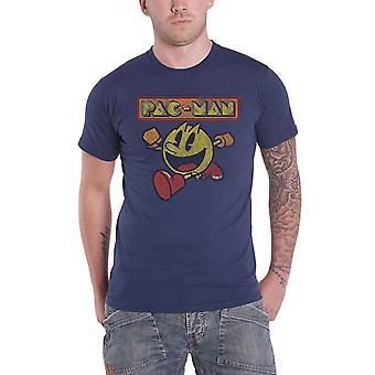 Pac-Man T Shirt Eighties Logo new Official Mens Denim Blue