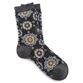 Birkenstock Womens Cotton Bling Blumen Socken 1009815 Anthrazit