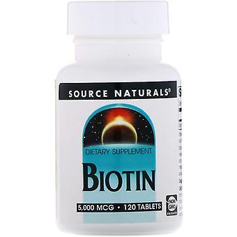 Source Naturals, Biotin, 5,000 mcg, 120 Tablets