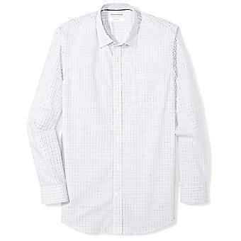 Essentials Men & apos;s Slim-Fit التجاعيد المقاومة قميص طويل منقوشة فستان, Bl ...