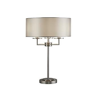Suchscheinwerfer KNIGHTSBRIDGE - Tischleuchte 3 Light Satin Silber mit Silber Faux Seide Schatten