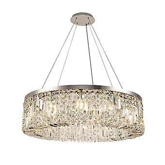 Luminosa Beleuchtung - zylindrische 80cm Deckenanhänger Kronleuchter, 12 Licht E14, poliert Chrom, Kristall