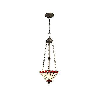 Luminosa Beleuchtung - 3 Leuchten Uplighter Deckenanhänger E27 mit 30cm Tiffany Schatten, rot, Kristall, alteralter antiker Messing