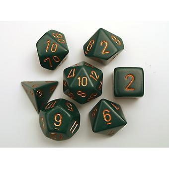 Chessex Opaque Polydice Set - Dusty Green/gold