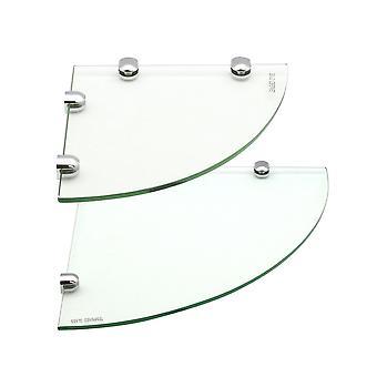 Glass Corner Bathroom / Bedroom Shelf - 1x 200x200mm & 1x 300x300mm