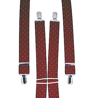 Ties Planet Red & Black Ribbed With White Polka Dot Men's Trouser Braces
