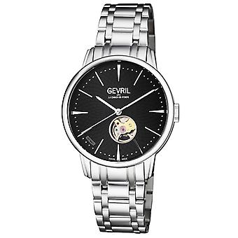 Gevril Men's 9600B Mulberry Automatic Black Dial Stainless Steel Wristwatch