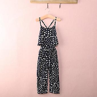 Cute Heart Print Jumpsuits With Suspender