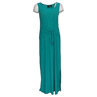 Vrouwen met Control Dress Mouwloze Stropdas Front Knit Maxi Green A301355