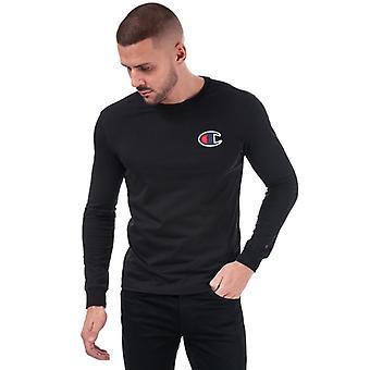 Men's Champion Suede C Logo Long Sleeve T-Shirt in Black