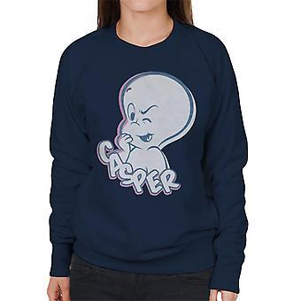 Casper The Friendly Ghost Winking Face Women's Sweatshirt