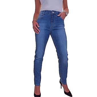 Femmes's Sculpted Shape Push Up Stretch Denim High Rise Slim Leg Jeans Fade Blue 10-22