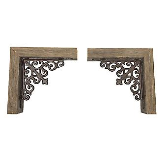 Set of 2 Weathered Gray Corbels