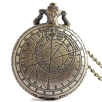 DEFFRUN Rétro Bronze Compass Modèle Simple Dial Chain Quartz Pocket Watch