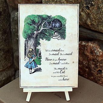 Alice i eventyrland 'vi er alle gale her' kort tegnet og staffeli