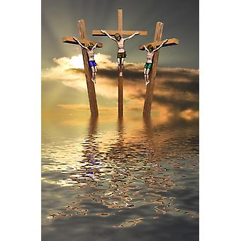 Jesus And Two Thieves On The Cross PosterPrint