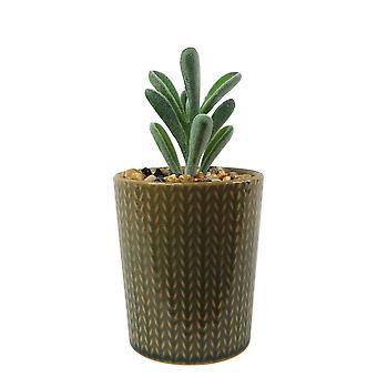 17cm Ceramic Stone Stripe Planter with Artificial Succulent Plant