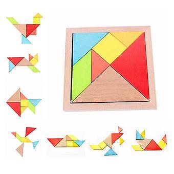 Ξύλινο tangram ξύλινο παζλ μπλοκ παιχνίδι πολύχρωμο εκπαιδευτικό δώρο