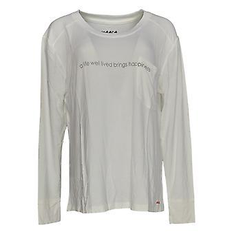 Peace Love World Women's Top Long Sleeve Affirmation T-Shirt White A288637