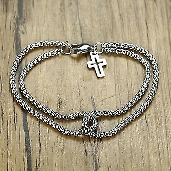 Double Strand Rolo Chain With Cross Charms Bracelet