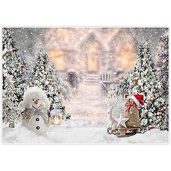 Allenjoy 7x5ft crăciun de iarnă snowman fundal pentru fotografie xmas copac zăpadă cadouri fulg de zăpadă înapoi