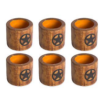 Dii Lone Star Wood Napkin Ring (Set Of 6)