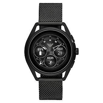 ארמני Art5019 אמפוריו מחובר שחור רשת חכמים שעון חכם
