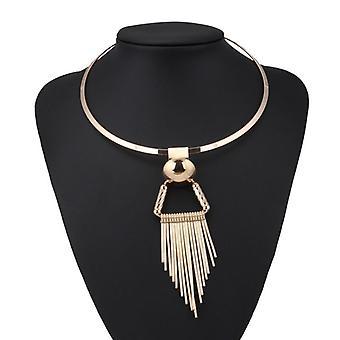 Punk Big Statement Stripe Triangle Tassel Necklace & Pendants