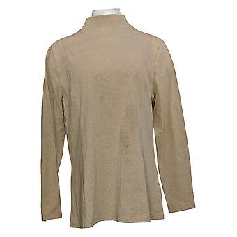 Isaac Mizrahi Live! Vrouwen>Top Mock-Neck Long Sleeve Knit Beige A372682