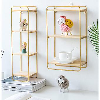 Creative golden loft style wrought iron partition display shelf
