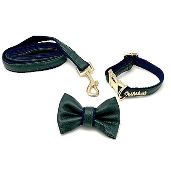 Green & Navy Leather Collar