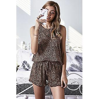 Leopard Swingy Tank And Ruffled Shorts Loungewear
