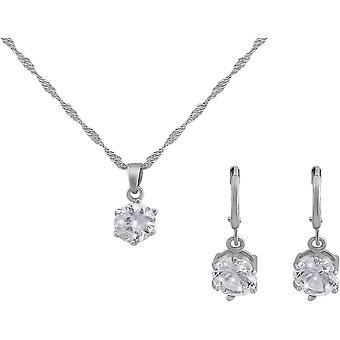 Veuer Schmuck fr Damen Set Hals-Kette Ohr-Ringe in Silber Versilbert Kristall-Steine Geschenk zu