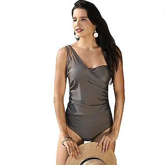 Naiset yksiosainen uimapuku olkapää ruched etu uimapuvut