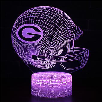3D Optisk illusionslampa LED Nattljus, 7 färger Touch Sänglampa Sovrum Bord Art Deco Barn Nattljus med USB-kabel Ny födelsedag Present-Amerikansk fotbollshjälm # 369
