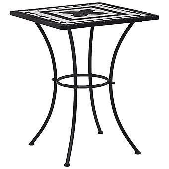 Tavolo bistrot mosaico in bianco e nero 60 cm ceramica