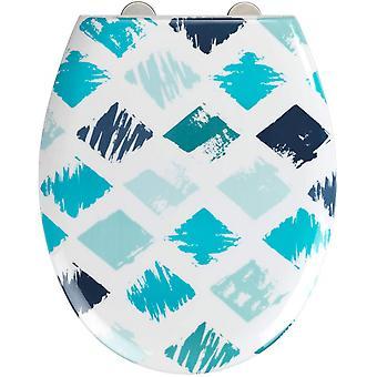 WC zitting Rhombus 37 x 44,5 cm Thermoset wit/blauw