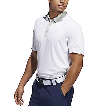 adidas Performance Mens Heat Ready Micro-Stripe Golf Polo Shirt - Vit