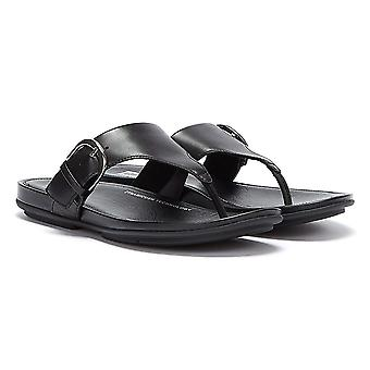 FitFlop Gracie Buckle Leather Womens Black Flip Flops