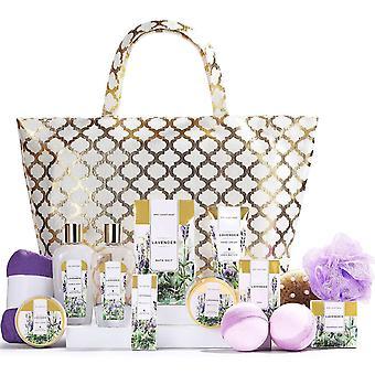 Lavender Bath Set, 15pcs Spa Gift Set, Pamper Gifts for Women, Bath Gift Set in Gold Bag with Body