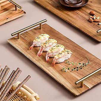 FengChun Holz Serviertablett mit Metallgriffen, stilvolle Bauernhaus Dekor Servieren Platten, Holz
